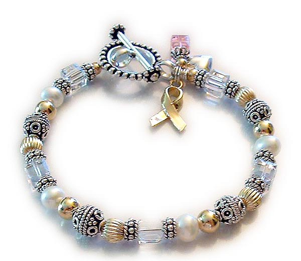 Beaded Toggle Clasp Breast Cancer Ribbon Bracelet with Clear for Lung Cancer and an October Birthstone Dangle Charm.